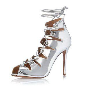 Schutz Slate Lace Up Sandals Metallic Silver Heels